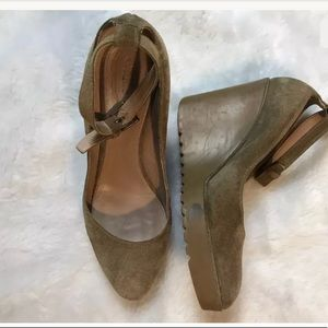 CHLOE Tan Brown Suede Leather Ankle Strap Wedge